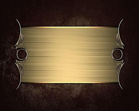 Grunge brown background with gold nameplate. Design template. Design element photo