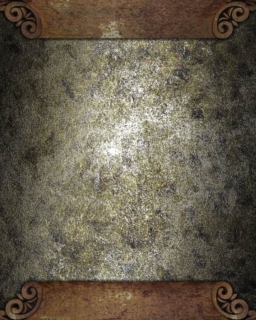 Design template - Metal grunge texture with a rusty plate for text on edges Stock Photo