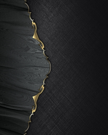 Black background with gold grunge line. Template for design photo