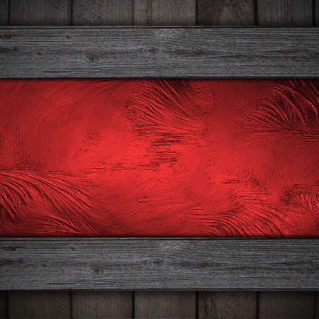 Design template. with wooden edges and red grunge wall photo