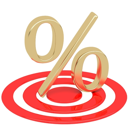 gunpoint: Percentage in the target. Discounts at gunpoint Stock Photo