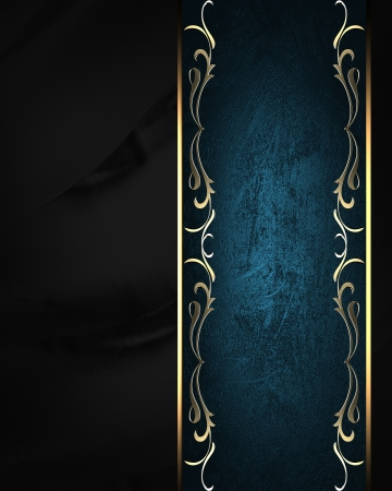 classy background: Black background with blue sign with gold trim. Element design Stock Photo