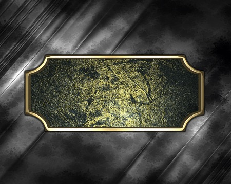 Design template - Metal texture with grunge sign with gold ornate edges Stock Photo - 22344964