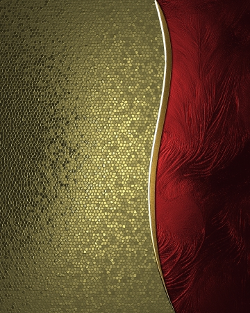 Design template - Gold rich texture with red sign and gold trim photo