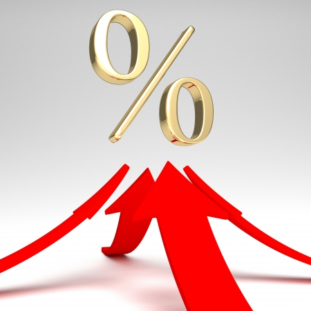 shiny red percent symbol with growing up arrow photo