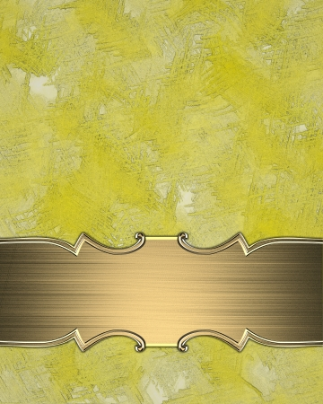 Yellow texture with gold sign and gold trim. Design template photo