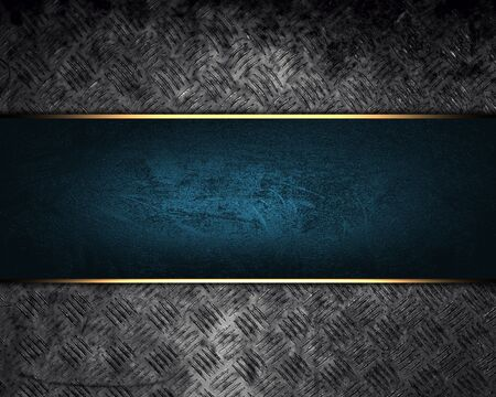 Design template. grunge metal texture with blue sign Stock Photo - 22799003