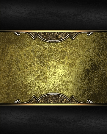 Gold rich texture with black edges and golden ornaments. Design template photo