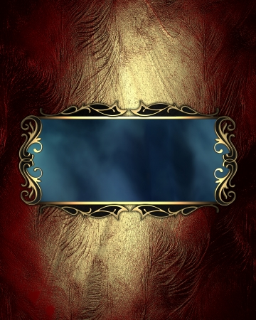 Design template - Golden shabby background, with a blue sign with gold trim photo