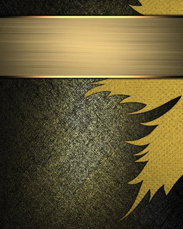 Dark background with a golden hue with abstract yellow pattern and gold plate. Design template photo