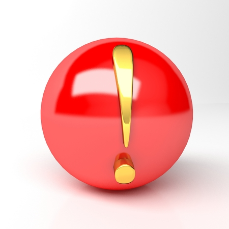Icon red ball with a yellow exclamation mark Stock Photo - 23547668
