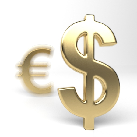 Dollar and Euro money symbols. Euro in the shadow of the dollar