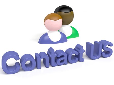 contactus: 3d people - man, person with button  Contact us Stock Photo