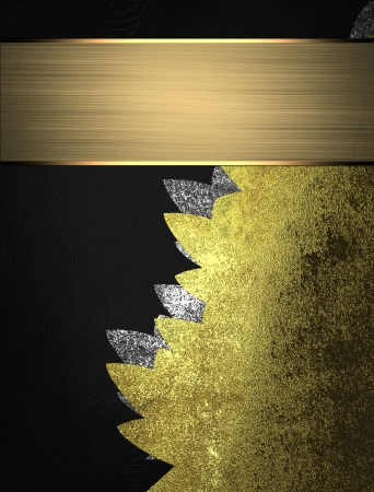 Black background with old gold insert with gold ribbon. Design template photo