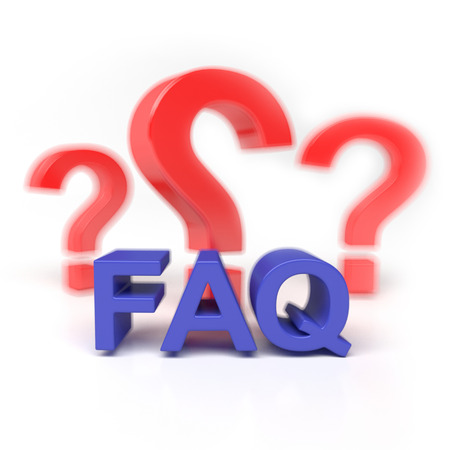 FAQ isolated on white background with a red question photo