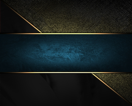 Black and gold background with blue plate. Design template photo