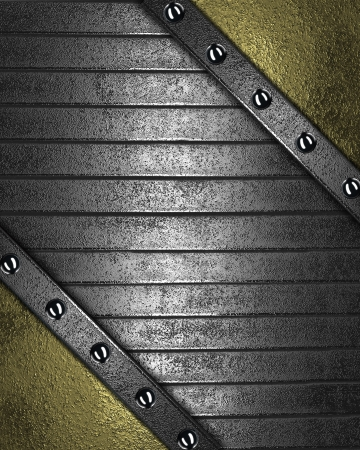 Iron strips with rivets on a gold background. Design template photo