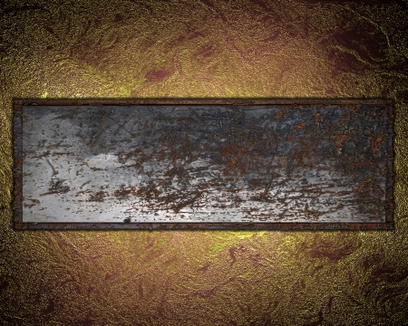 Grunge rusty nameplate on gold red background. Design template photo