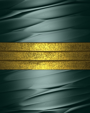 Abstract green grunge background with gold stripes. Design template photo