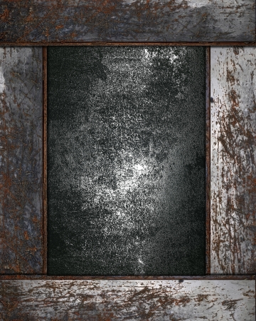Metal background with grunge rusty metal edges. Design template photo