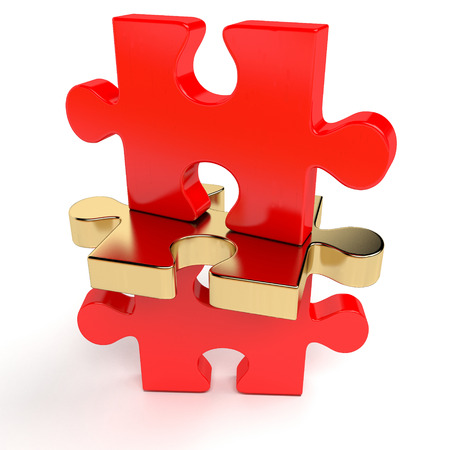 splice: Red jigsaw puzzle with an outstanding golden piece - 3d render