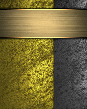 Gold background with grunge rusty metal edges and gold plate. Design template photo