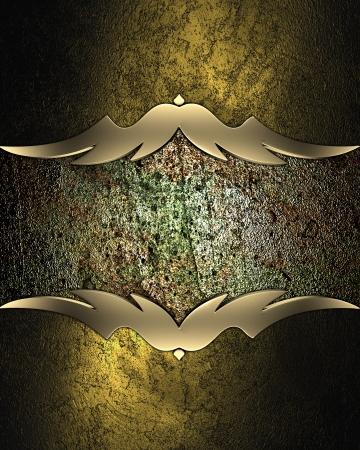 Dark golden background with grunge plate with gold trim photo