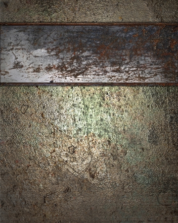 Grunge metal background with rusty plate. Design template photo