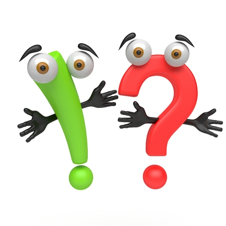 exclamation point: 3d cartoon question mark and exclamation point