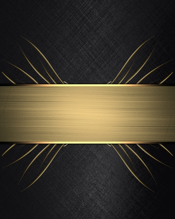 Black background with gold ribbon. Design template photo