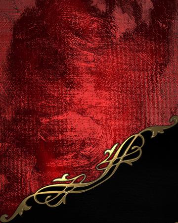 黒プレートとゴールド トリムと赤の背景。デザイン テンプレート 写真素材
