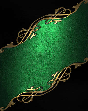 Green background with black angles and gold trim. Design template photo