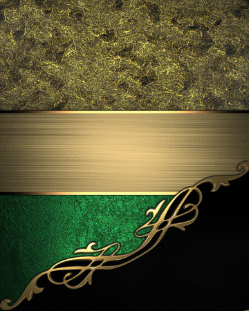 Gold background with black angle and gold trim. Design template photo