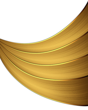 Gold ribbons isolated on white background photo