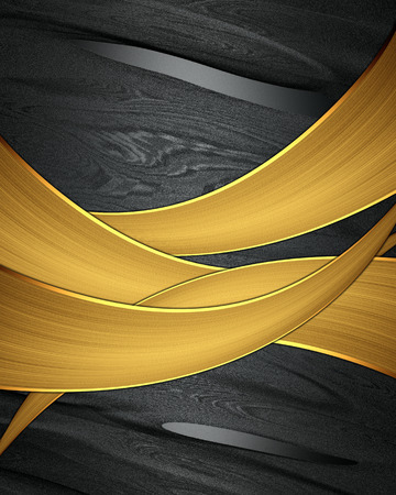 Abstract black background with abstract golden ribbon photo