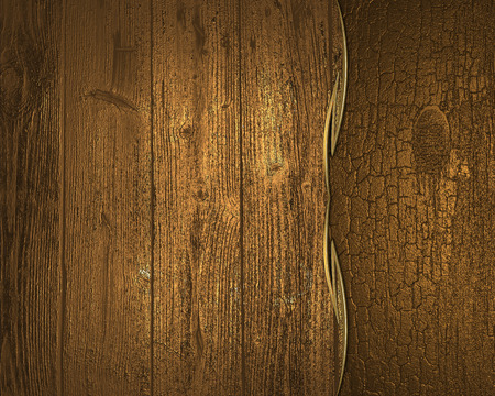 Background of gold and old wood planks. Design template photo