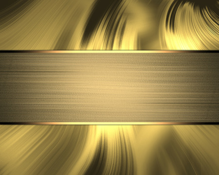 Wavy golden background with gold plate. Template for text and design photo