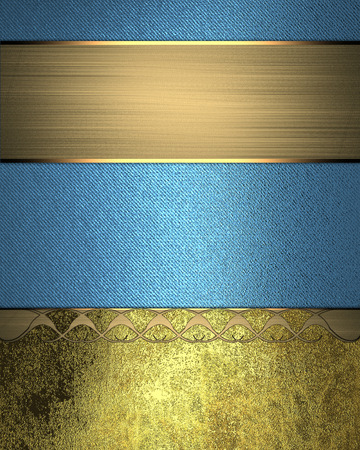 Blue background with grunge gold nameplate and gold trim. Design template. Design for site