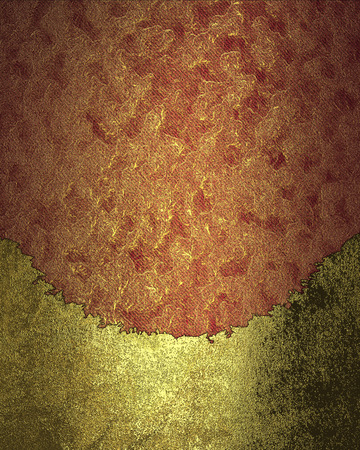 frayed: Golden plate with frayed edges on a red background