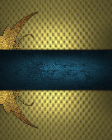 Abstract golden background with gold pattern and blue ribbon. Design template. Design site photo