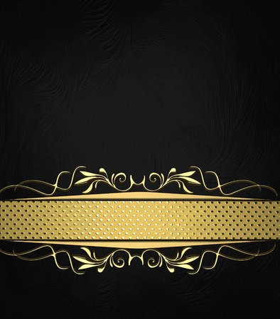 Abstract black texture with black ribbon with gold pattern. Design template. Design site Stock Photo