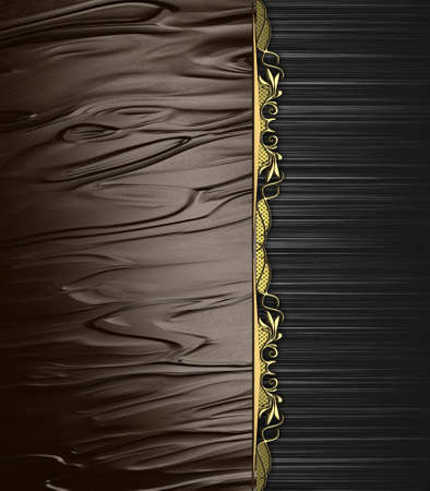 Abstract brown background with black edge and gold ornaments  Design template  Design site photo