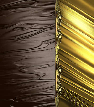 Abstract brown background with gold edge and gold ornaments  Design template  Design site photo