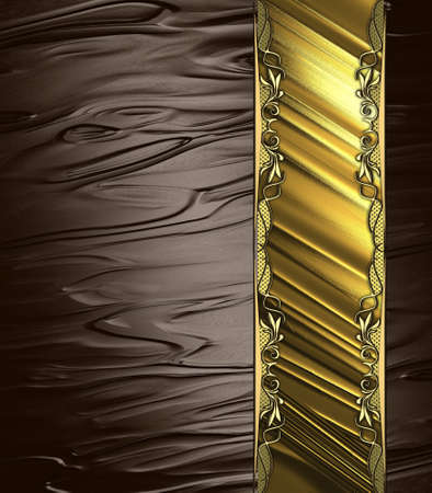 Abstract brown background with gold ribbon and gold ornaments. Design template. Design site photo