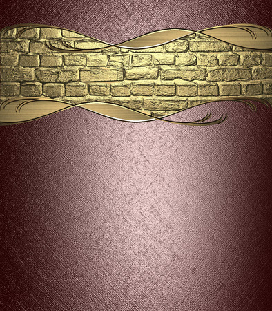 earth tone: Brown grungy background with a nameplate from gold bricks. Design for text. Design for site Stock Photo