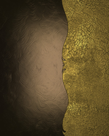 Brown abstract background with gold edge with gold trim. Design template. Design site photo