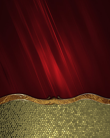detail invitation: Red abstract background with gold bottom with a beautiful finish  Design template  Design site