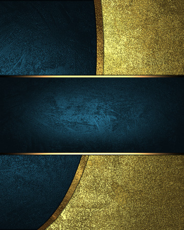 blue plaque: Abstract blue background with grunge gold with blue nameplate. Design template. Design site