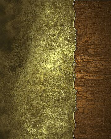 Grunge gold background with the edge of the wood. Design template. Design site Stock Photo