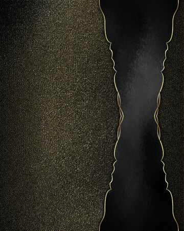 Abstract black background with textured walls with black nameplate with gold trim. Design template. Design site photo